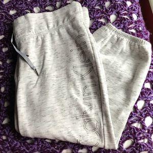 Calvin Klein elastic waist sweat pants crops Lg